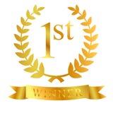 Golden laurel, ribbon, first, winner at white background. Vector golden laurel, ribbon, first, winner at white background Royalty Free Stock Images