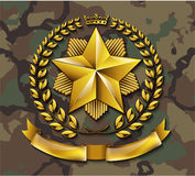 Vector golden laurel wreath honor star award on camouflage background Royalty Free Stock Photo