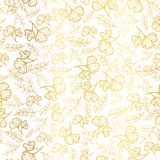 Vector golden leaves texture seamless repeat pattern background. Great for fall fabric, wallpaper, giftwrap Stock Photos