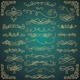 Vector Golden Luxury Glossy Vintage Swirls. Set of Hand Drawn Golden Luxury Royal Design Elements. Decorative Glossy Swirls, Scrolls, Text Frames, Dividers Stock Images