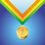 Vector golden medal with number first Stock Image