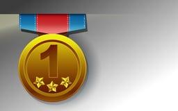 Golden medal on white background. vector illustration
