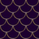 Vector golden mermaid tail texture. Fish scale seamless pattern. Luxury mandalas background Royalty Free Stock Photo