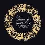 Vector golden monogram. Luxurious decorative frame. Wedding invitation. Elegant lines of calligraphic ornament. stock illustration