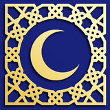 Vector golden muslim mosaic with crescent, persian motif. Mosque decoration element. Islamic geometric pattern. Stock Photo