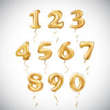 Vector Golden number metallic balloon. Party decoration golden balloons. Anniversary sign for happy holiday, celebration, birthday Stock Photography