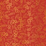 Vector golden and orange leaves texture seamless repeat pattern background. Great for fall fabric, wallpaper, giftwrap. Scrapbooking projects. Surface pattern Royalty Free Stock Photos