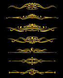 Vector golden ornate borders set black background Stock Image
