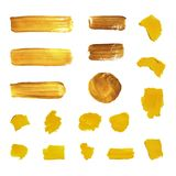 Vector Golden Paint Brush Strokes, Different Shapes Isolated. royalty free illustration