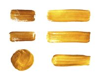 Vector Golden Paint Strokes, Realistic Design Elements Collection Isolated. royalty free illustration