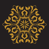 Vector golden pattern on black background. Arabesque and floral ornaments in hexagon shape Stock Photo