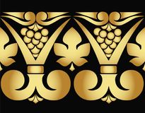 Vector golden pattern of grapes and leaves on black background. Seamless pattern Stock Photo