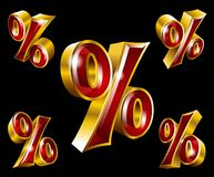 Vector golden percent sign in 3D style. Vector gold percent sign in 3D style with different angles Stock Photography
