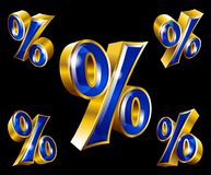 Vector golden percent sign in 3D style. Vector gold percent sign in 3D style with different angles Royalty Free Stock Photography