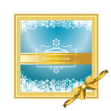 Vector of golden picture frame with happy new year card on white background. Happy new year card designs in gold picture frame isolated on white stock illustration