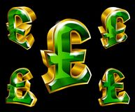 Vector golden pound sterling symbols in 3D style Stock Photo