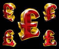 Vector golden pound sterling symbols in 3D style Royalty Free Stock Photo