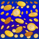 Vector Golden rain. Rain of gold coins on a blue background Stock Image