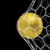 Vector golden Realistic soccer ball or football ball in net on black background.. Vector golden Realistic soccer ball or football ball in net on black Royalty Free Stock Photo