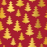 Vector golden and red Christmas trees seamless repeat pattern background. Great for winter holiday fabric, packaging Stock Photos