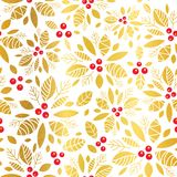 Vector golden red holly berry holiday seamless pattern background. Great for winter themed packaging, giftwrap, gifts. Projects. Surface pattern print design Stock Photography