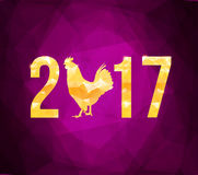 Vector 2017 with golden rooster, animal symbol of New Year. Happy Chinese new year 2017 with golden rooster , animal symbol of 2017 year Royalty Free Stock Images