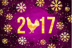 Vector 2017 with golden rooster, animal symbol of New Year. Happy Chinese new year 2017 with golden rooster , animal symbol of 2017 year Stock Photos