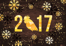 Vector 2017 with golden rooster, animal symbol of New Year Stock Photos