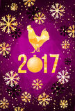 Vector 2017 with golden rooster, animal symbol of New Year. Happy Chinese new year 2017 with golden rooster , animal symbol of 2017 year Royalty Free Stock Photos