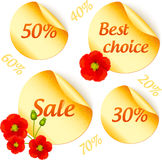 Vector golden sale stickers isolated set Stock Photography
