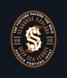 Golden seahorse badge as a letter S Royalty Free Stock Images