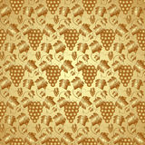 Vector Golden Seamless Pattern with Grapes and Stock Image