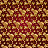 Vector Golden Seamless Pattern on Red with Grapes Royalty Free Stock Images