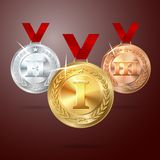 Vector Golden, Silver and Bronze medal set with Royalty Free Stock Photo