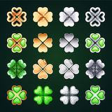 Vector Golden and Silver Four-leaf Clovers Royalty Free Stock Images