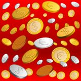 Vector Golden and silver rain. Rain of gold and silver coins on a red background Stock Photo