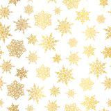 Vector golden snowflakes seamless repeat pattern background. Great for winter holiday fabric, giftwrap, packaging. Covers, invitations. Surface pattern design Stock Photo