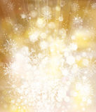 Vector golden sparkling background with snowflakes Royalty Free Stock Photos