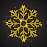 Vector Golden Sparkling Snowflake. With Shimmer Glitter Texture Isolated on Dark Gray Background. Merry Christmas, Xmas, Happy New Year, Noel, Yule Holidays Royalty Free Stock Photo