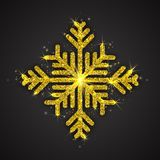 Vector Golden Sparkling Snowflake. With Shimmer Glitter Texture Isolated on Dark Gray Background. Merry Christmas, Xmas, Happy New Year, Noel, Yule Holidays Stock Photos