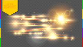 Vector golden special effect. Glowing streaks on transparent background.  Royalty Free Stock Image
