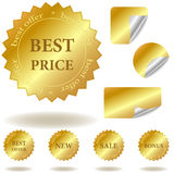 Vector golden stickers and labels. For websites, advertising, business and other Stock Photos