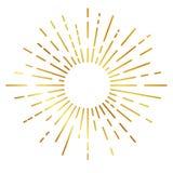 Golden sunburst isolated on white. Vector Golden sunburst isolated on white Stock Image