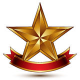 Vector golden symbol with stylized pentagonal glossy star Royalty Free Stock Photo