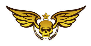 Vector golden tattoo or logo with skull, wings, laurel wreath and star. Isolated on white background. Design for air force, biker or MMA fighter print vector illustration