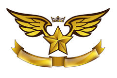 Vector golden tattoo or logo with star, wings, crown and ribbon Stock Photo