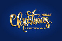 Vector golden text on blue red background. Golden text on blue background. Merry Christmas and Happy New Year lettering for invitation and greeting card, prints Royalty Free Stock Photo