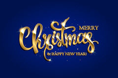 Vector golden text on blue red background. Golden text on blue background. Merry Christmas and Happy New Year lettering for invitation and greeting card, prints Royalty Free Stock Images