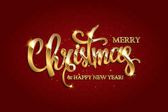 Vector golden text on dark red background. Golden text on dark red background. Merry Christmas and Happy New Year lettering for invitation and greeting card Stock Images
