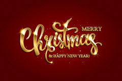 Vector golden text on dark red background. Golden text on dark red background. Merry Christmas and Happy New Year lettering for invitation and greeting card Stock Photography